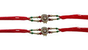 Set of Two Chakra Stone with Red N Orange Colour Thread. Raksha bandhan Gift for your Brother,Colour Vary and Multi Design