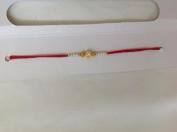 Rakhi Single White Beaded Red Thread Raksha Bandhan NEW