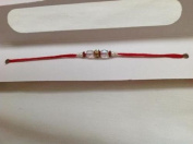 Rakhi Single Clear Beaded Rakhi with Red Thread Brother Bond NEW