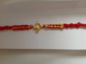 Rakhi Single Siver Stone Rakhi with Red Thread Brother Bond NEW