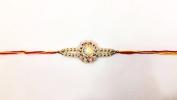Simple Round Red Stone and Beaded – Rakhi Thread/Rakhi Bracelet/Bhaiya Series