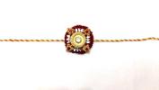 Elegant Round Stone and Wooden Design – Rakhi Thread/Rakhi Bracelet/Bhaiya Series