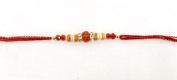 Orange Crystal Effect and Wooden Beading–Rakhi Thread/Rakhi Bracelet/Bhaiya Series