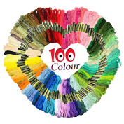 GeMoor Cotton Embroidery Threads, 100 x Assorted Coloured Cross Stitch Skeins for Cross Floss Sewing
