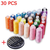 Candora® Wholesale Sewing Thread Coil 30 Colour 250 Yards Each Polyester All Purpose & 30 Needles