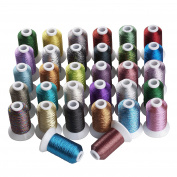 Simthreads 32 Colours Metallic Embroidery Machine Thread, 550 Yrds Each