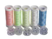 Simthreads 5 Colours Luminous Glow in the Dark Embroidery Machine Thread, 150 Yrds Each, with 5 Type A Plastic Bobbins
