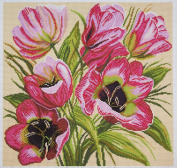 Duftin PA1118 Pink Tulips AIDA FABRIC WITH MULTI-COLOURED Print Embroidery Design Cotton 41 x 41 x 0.1 cm