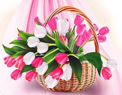 GMMH Diamond Picture 14 x 18 Diamond Painting Embroidery Painting Handmade Crafts Tulip Mosaic Flower Basket