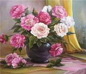 GMMH Diamond Photo 40 x 50 Diamond Painting Embroidery Painting Handmade Craft Mosaic Peonies Flower Basket