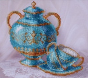 Blue Still Life Counted Bead Embroidery Kit 20x18 cm