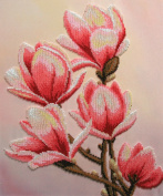 Magnolias Counted Bead Embroidery Kit 28x34 cm