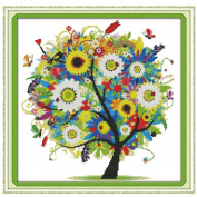 KAMIERFA DIY Cross Stitch Colourful Lucky Tree Embroidery Kit Home Decor Arts, Crafts & Sewing Cross Stitch