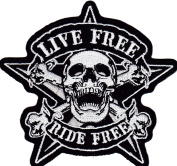 Iron on Patch Sew on Embroidered Application Live Free Ride Free Skull and Crossbones Biker MC