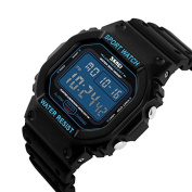 Men's Blue Digital Sports Watch Led Screen Military Watches And Waterproof Casual Luminous Stopwatch