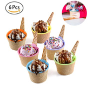 Ice Cream Dessert Bowls and Spoons, Six Vibrant Colour Frozen Yoghurt Cups, BPA Free Plastic, Non-Toxic, Food Grades, Sundae Dessert Bowl and Spoon For Children, Girls, and Women