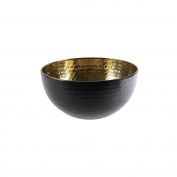 Saveur et Degustation ka1945 martelée-19.5 cm Salad Bowl, Stainless Steel, Noir-Or, 19.5 x 19.5 x 9.8 cm