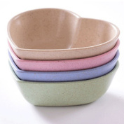 ZWANDP Household Biodegradable Wheat Straw Heart-shaped Sauce Dishes Plate Soup Bowl Set of 4