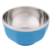 sourcingmap® Stainless Steel Dining Table Round Soup Rice Dish Porridge Holder Bowl Silver Tone Blue