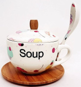 Fairy Cupcakes Soup Set Bamboo and Ceramic Soup Set Hand Decorated in the UK