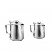 MagiDeal Stainless Steel Coffee Pitcher Craft Milk Frothing Jug With Lid 350ml+600ml