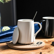 Creative fashion gifts ceramic mug couple coffee cup milk cup cup office personality cup with a lid with a spoon cup,White thread