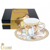 CARMANI - Small cup with saucer decorated with 'Winter' by Alphonse Mucha paintings 225ml