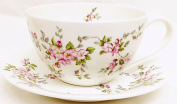 Pink Wild Roses Breakfast Cup & Saucer Fine Bone China Floral Large Cup Saucer Set Hand Decorated in UK