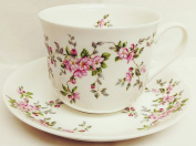 Pink Wild Roses Breakfast Cup & Saucer Fine Bone China Large Pink Floral Cup & Saucer Set Hand Decorated in the U.K.
