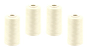 Overlocker Thread Sewing Thread 40/2 (120), 5000 Yards (4570 Metres), Silicone, Assorted Colours, cream, Pack of 4