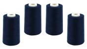 Schnoschi 4 Cones Overlocker Yarn 40/2 (120), Sewing Thread 5,000 Yards (4570 m), Dark Blue