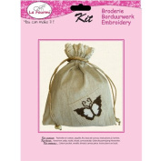 La Fourmi Cotton Bag with Butterfly Embroidery Patch