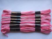 Pack of 6 Trebla Variegated Embroidery Thread / Skeins - 8m - Light Pinks - Col. 32