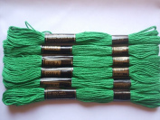 Pack of 6 Trebla Embroidery Thread / Skeins - 8m - Lawn Green - Col. 319