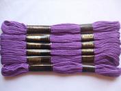 Pack of 6 Trebla Embroidery Thread / Skeins - 8m - Purple - Col. 113