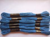Pack of 6 Trebla Embroidery Thread / Skeins - 8m - Dark Royal Blue - Col. 5135