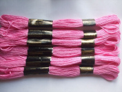 Pack of 6 Trebla Embroidery Thread / Skeins - 8m - Fuchsia Pink - Col. 402