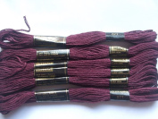 Pack of 6 Trebla Embroidery Thread / Skeins - 8m - Deep Burgundy - Col. 871
