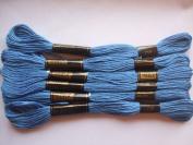 Pack of 6 Trebla Embroidery Thread / Skeins - 8m - Air Cadet Blue - Col. 758