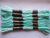 Pack of 6 Trebla Variegated Embroidery Thread / Skeins - 8m - Mints - Col. 31