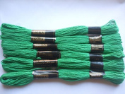 Pack of 6 Trebla Embroidery Thread / Skeins - 8m - Racing Green - Col. 210