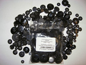 KosiKrafts 1 Bag Of 100g Art & Craft BLACK Sewing BUTTONS. Various Sizes