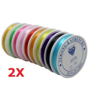 Winstory 20 Rolls Colourful Crystal Elastic Beading Sewing,Stretch Elastic Cord Jewellery Making Sewing Threading,0.8mm