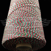 1 Metre, RED/EMERALD GREEN/WHITE BEAUTIFUL BAKERS TWINE 100% COTTON 2mm 2 PLY MADE IN THE UK - STRING CORD CRAFT PAPER - FREE UK DELIVERY