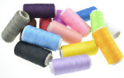 FiveSeasonStuff® Rainbow Sewing Thread Spools and Bobbins Set 15-Pack Assorted Colours (All Purpose Polyester Domestic Sewing Machine Thread) / Ideal for Hand Sewing, Machine Sewing, Quilting, Stitching, Mending etc. HJ8