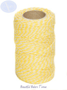 Daffodil Yellow & White - 50m Roll of BAKERS Twine - 100% Cotton - .
