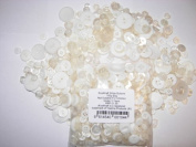 KosiKrafts 2 BAGS Of 100g Art & Craft WHITE Sewing BUTTONS. Various Sizes