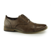 GOOR Nelson Boy's Capped Lace Oxford Brogue Shoes - Mid Brown, Small Kids UK 11