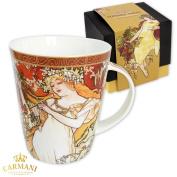 CARMANI - Large porcelain mug decorated with 'Spring' by Alphonse Mucha 450ml