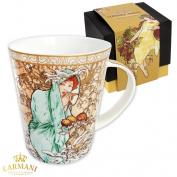 CARMANI - Large porcelain mug decorated with 'Winter' by Alphonse Mucha 450ml